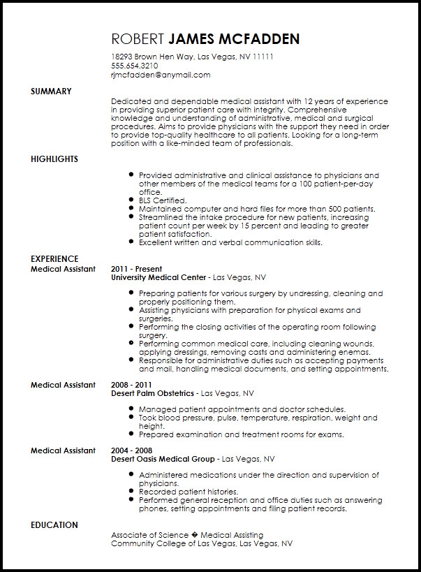 Medical assistant Resume Templates Free Traditional Medical assistant Resume Template
