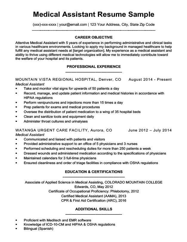 Medical assistant Resume Templates Medical assistant Resume Sample