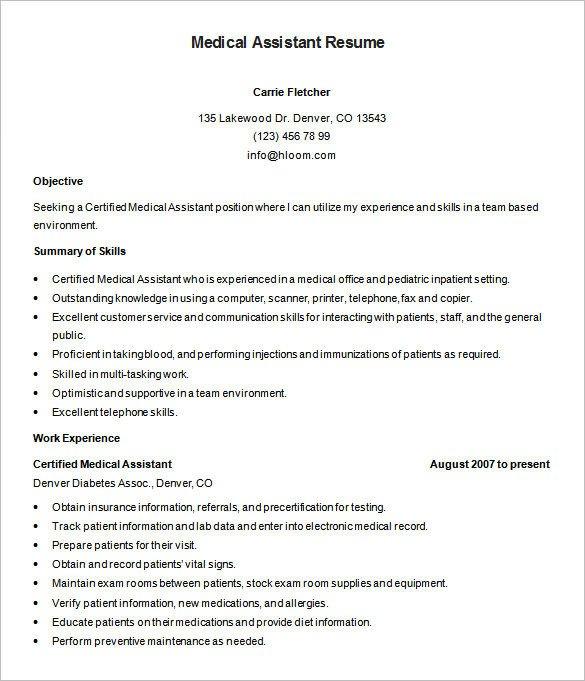 Medical assistant Resume Templates Medical Resume format