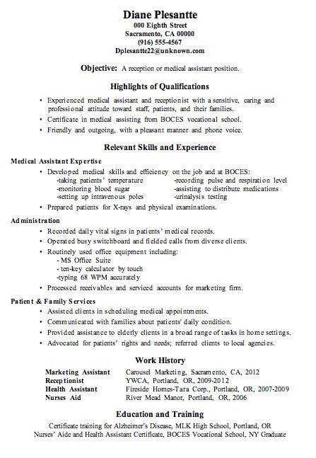Medical assistant Resume Templates Resume Sample Receptionist or Medical assistant