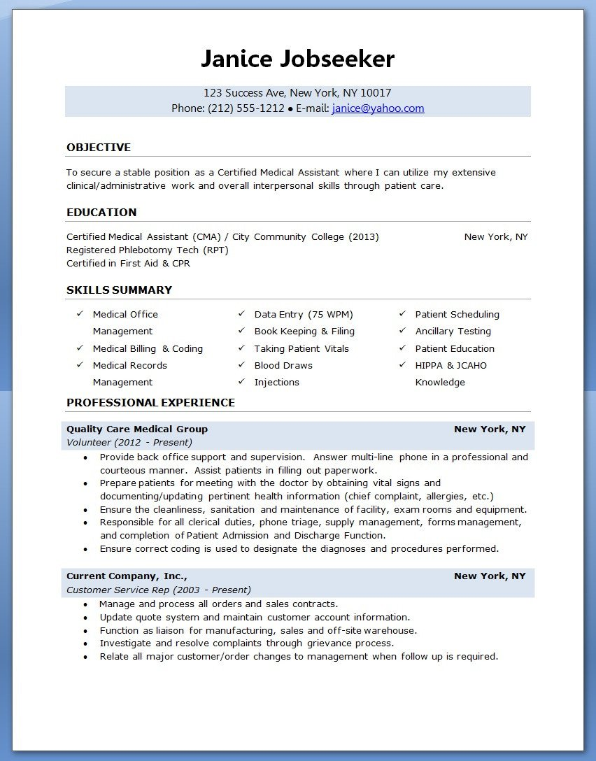 Medical assistant Resume Templates Sample Of A Medical assistant Resume 2016