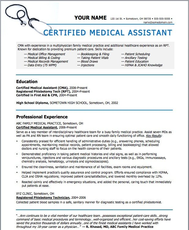 Medical assistant Resume Templates Sample Resumes for Medical assistant