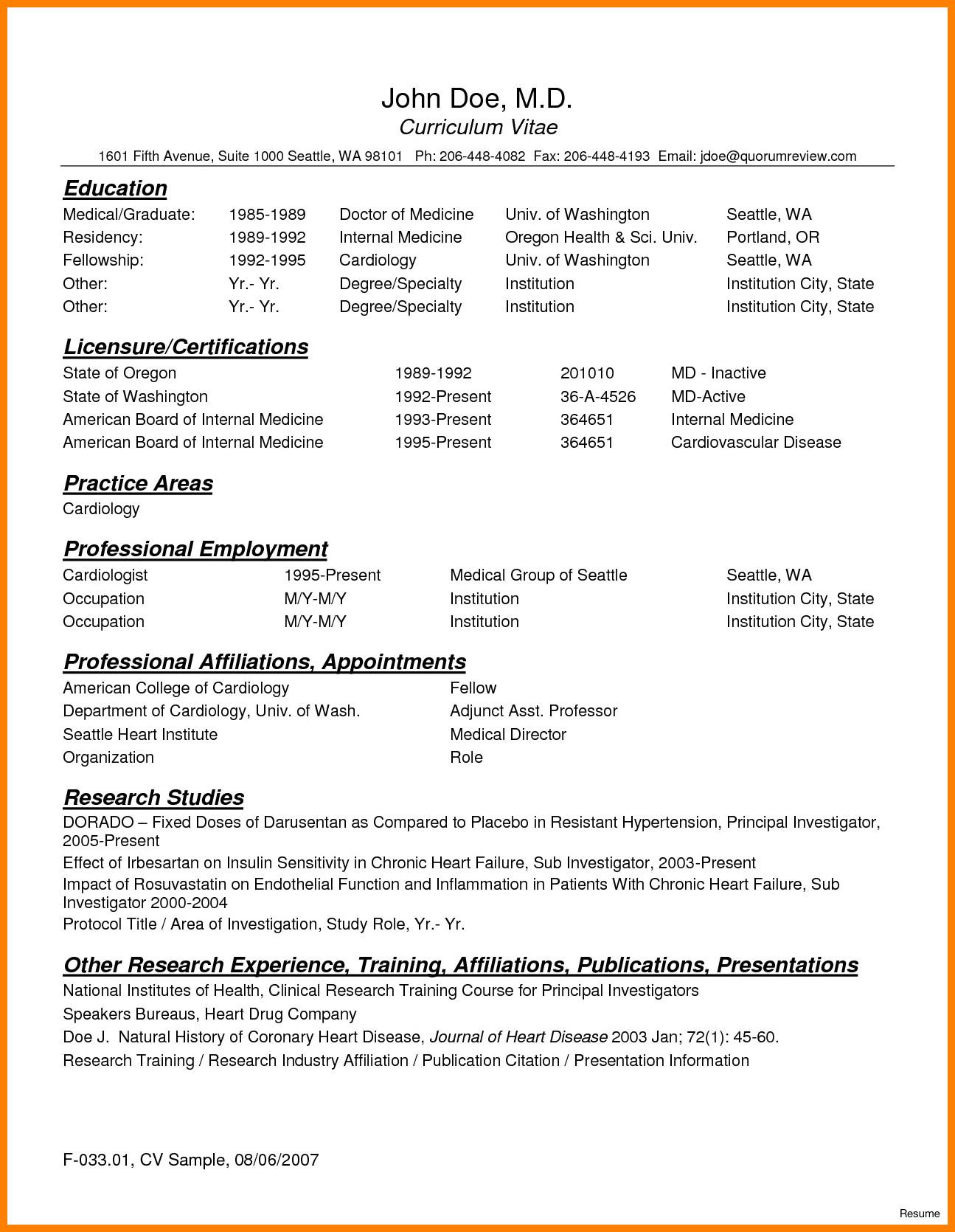 Medical Curriculum Vitae Templates 8 Curriculum Vitae for Doctors Sample