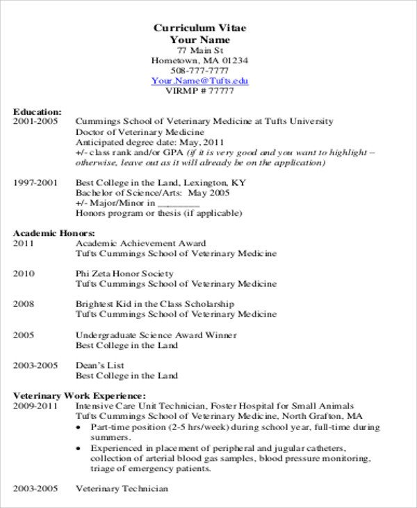 Medical Curriculum Vitae Templates Medical Student Cv Sample 7 Examples In Word Pdf