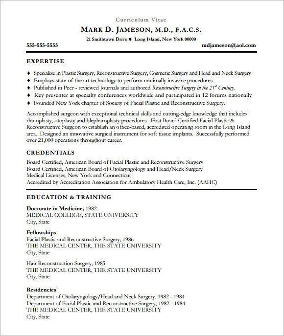 Medical Curriculum Vitae Templates Sample Medical Cv Template 7 Download Documents In Pdf