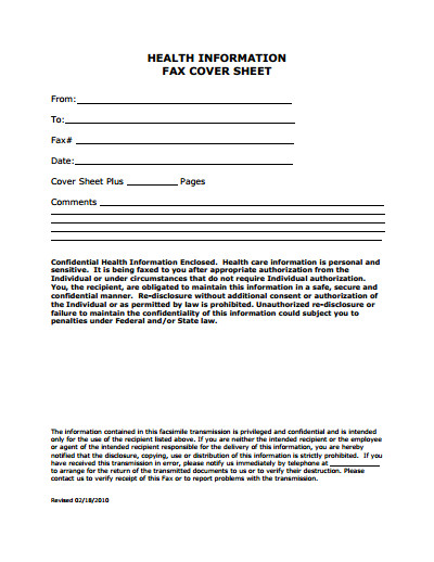 Medical Fax Cover Sheet Template Free Download Create