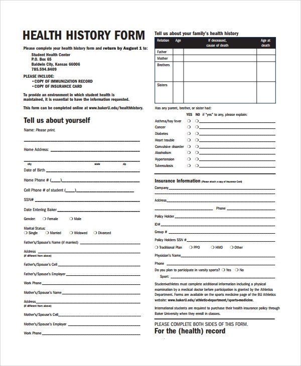 Sample Health History Template 9 Free Documents