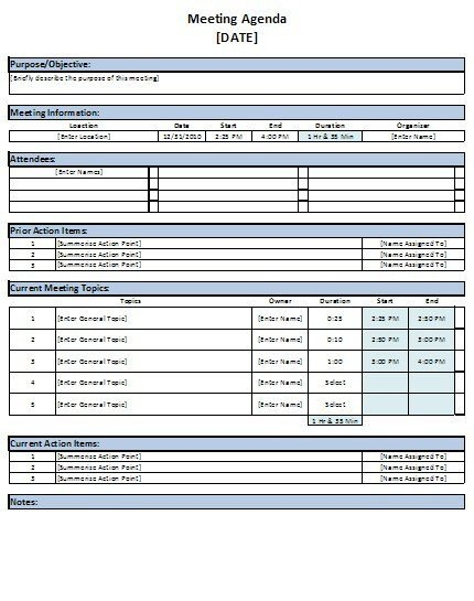 Free Excel Meeting Agenda Template Download