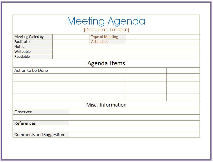 Meeting Minutes Template Word Basic Meeting Agenda Template formal & Informal Meetings