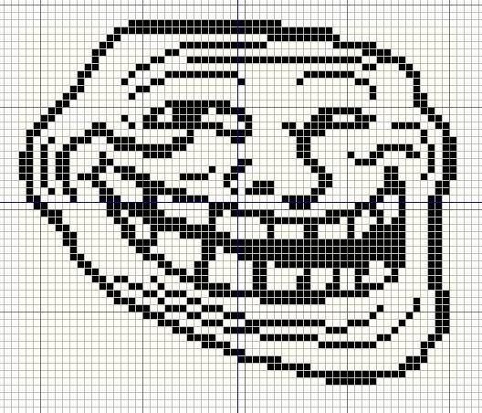 Meme Pixel Art Grid Buzy Bobbins Trollface Coolface Problem Meme Cross