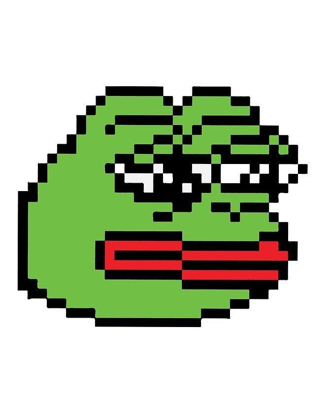 """Meme Pixel Art Grid """"pixelated Pepe Sad Frog Meme Rare Dank """" Metal Prints"""