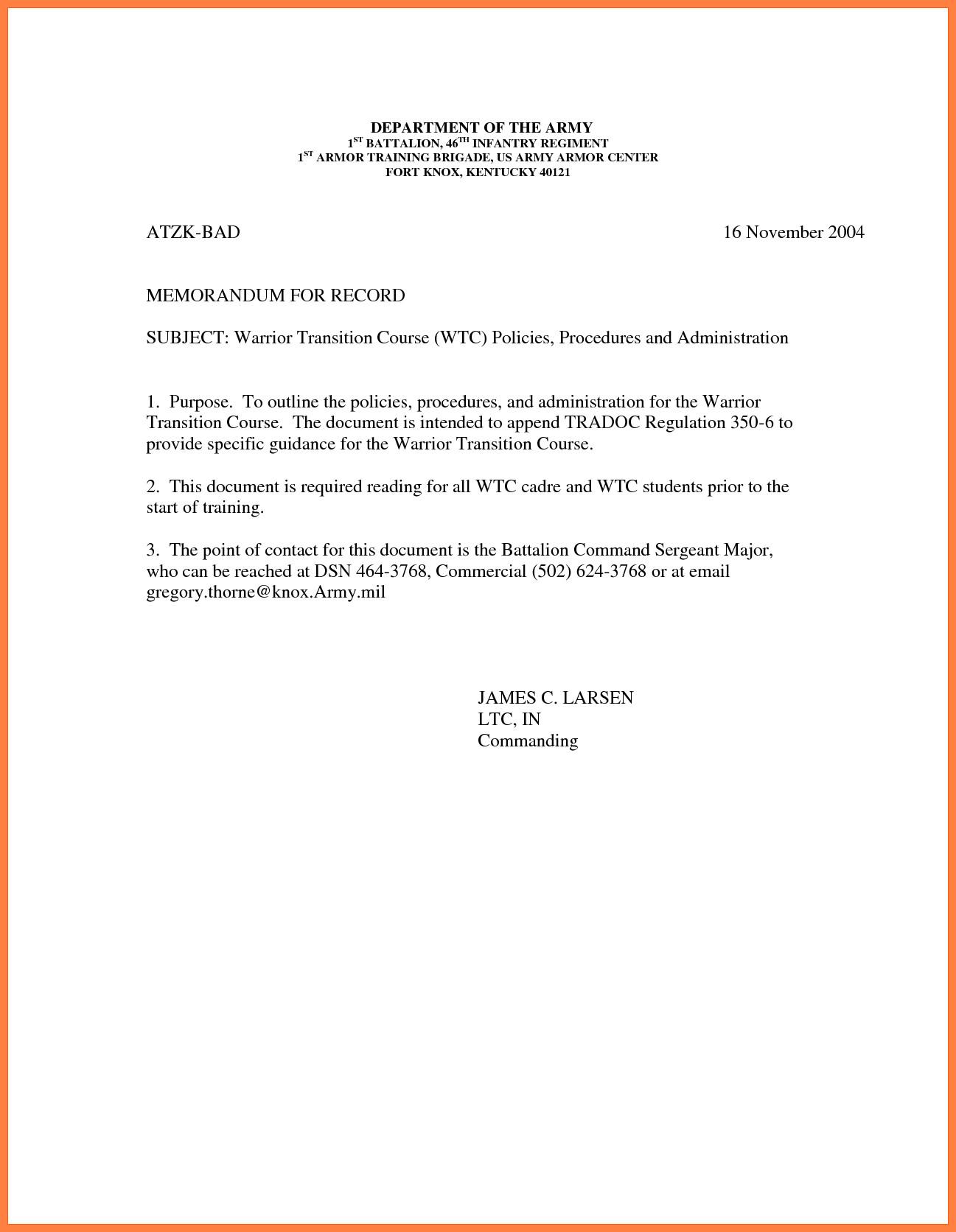 Memorandum for Record Army 9 Memorandum for Record Army