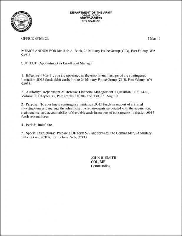 Memorandum for Record Army Army Memorandum for Record