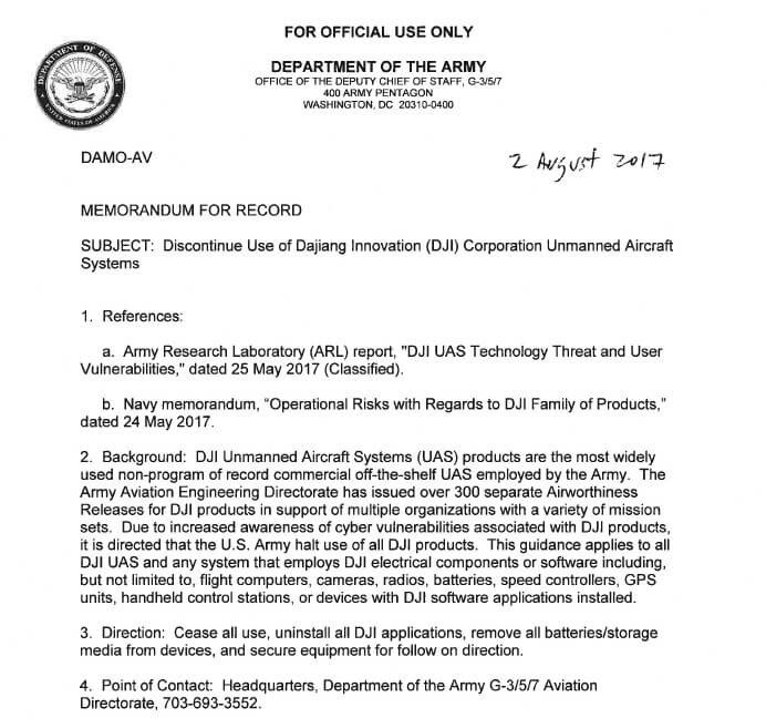 Memorandum for Record Army Dji the Us Army and Cyber Vulnerabilities Dronelife