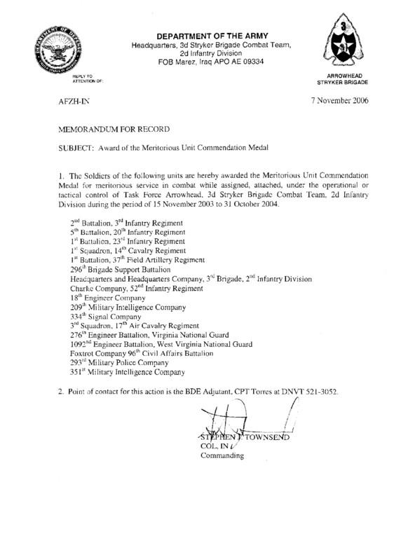 Memorandum for Record Army File C 52 Muc Memo Oif 03 04