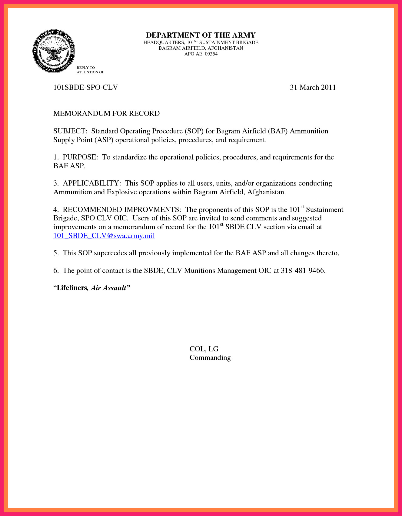 Memorandum for Record Army Memorandum for Record Army