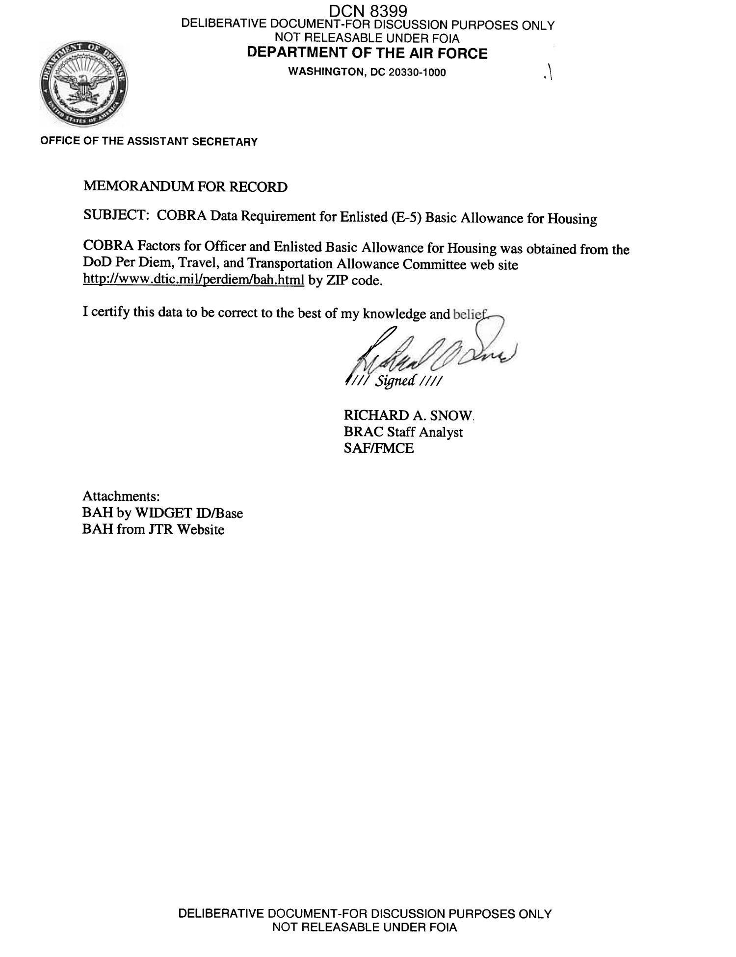 Memorandum for Record Army Memorandum for Record From Richard A Snow Brac Staff