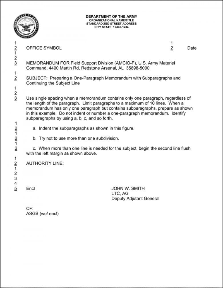 20 memorandum of record template