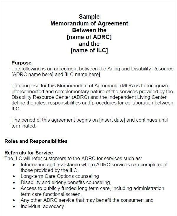 Memorandum of Agreement 15 Free PDF DOC Download
