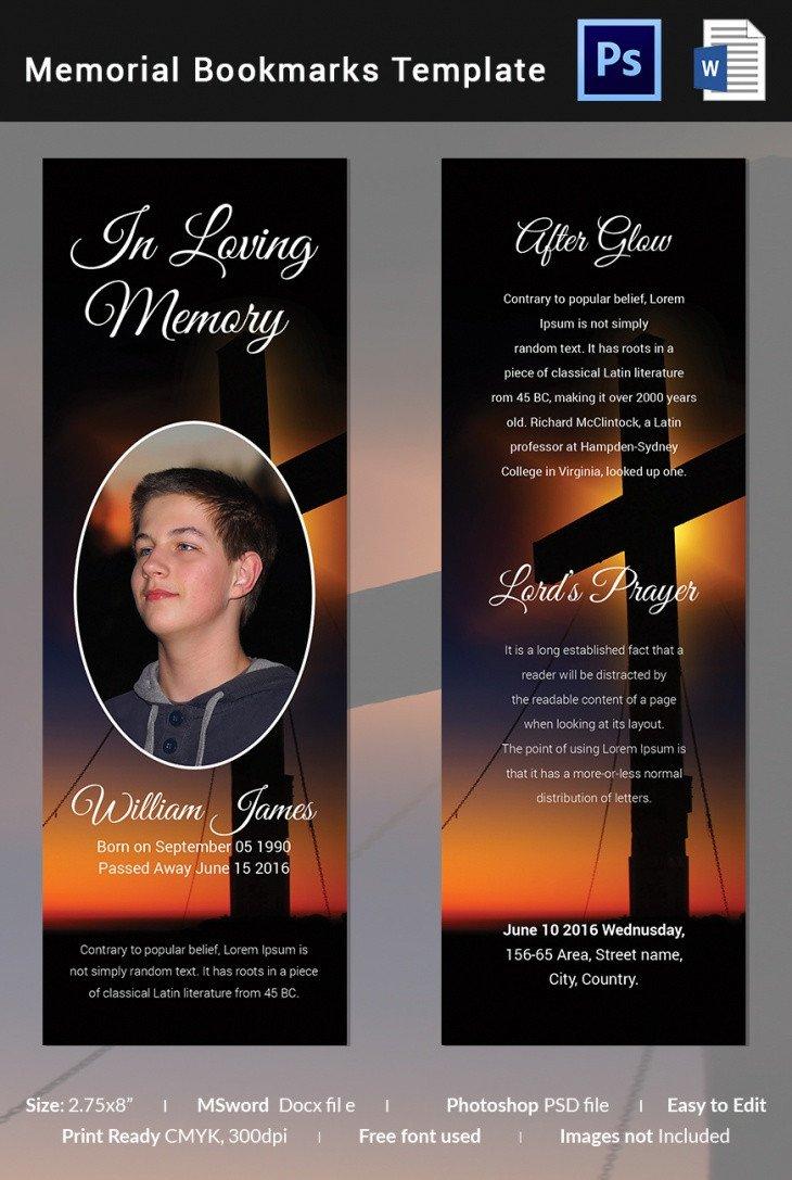 Memorial Card Template Free Download 5 Memorial Bookmark Templates – Free Word Pdf Psd