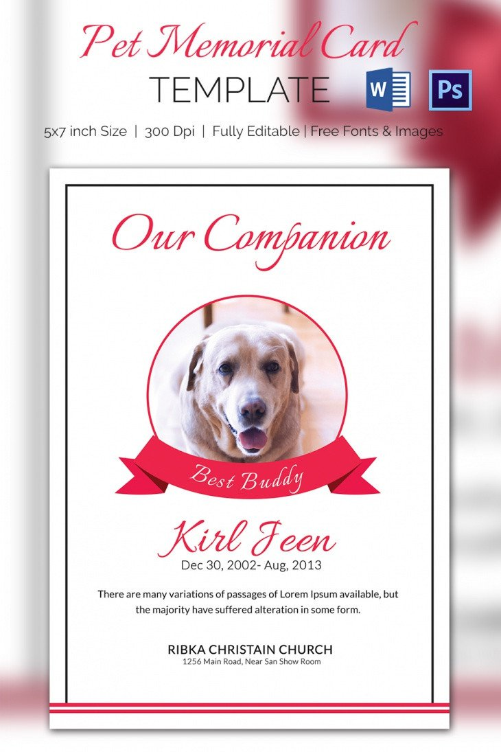 Memorial Card Template Free Download 5 Pet Memorial Card Template Word Psd Pages