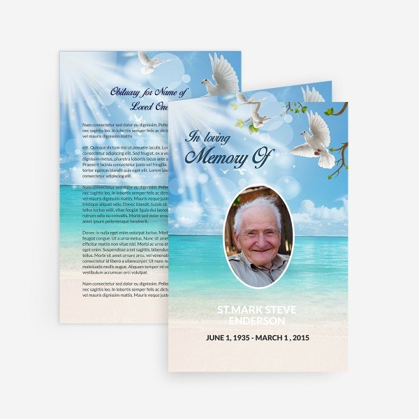 Memorial Card Template Free Download Dove Funeral Card Funeral Pamphlets