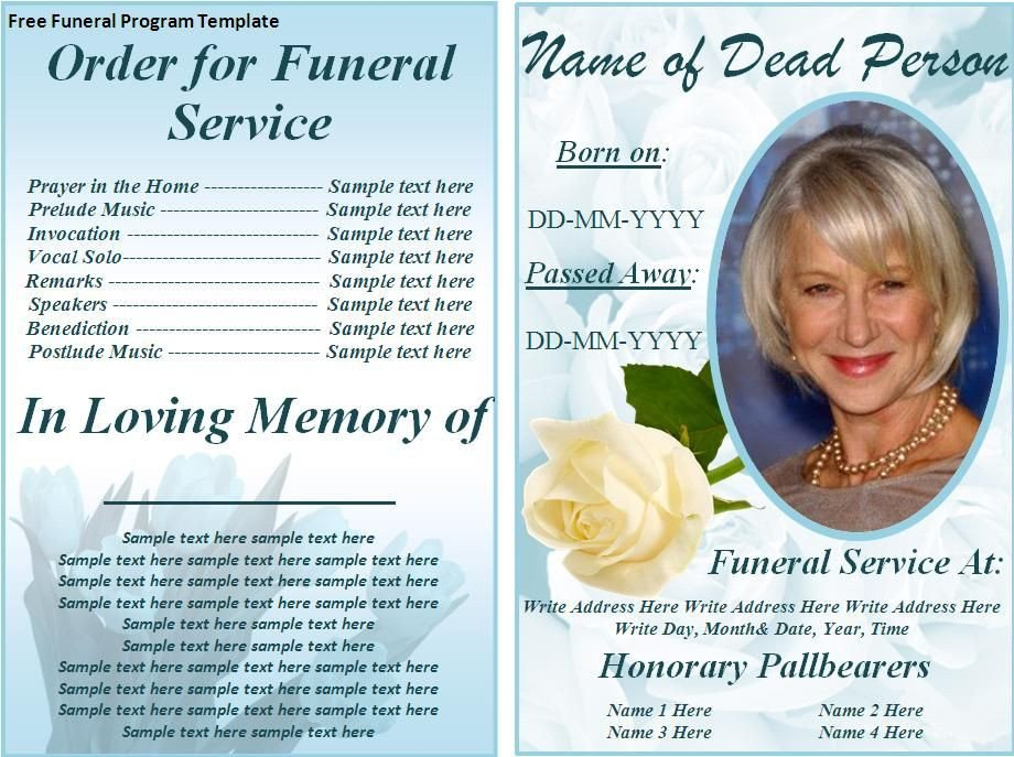Memorial Card Template Free Download Free Funeral Program Templates