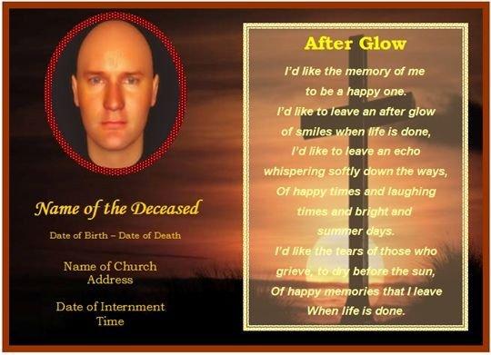 Memorial Card Template Free Download Memorial Card Template Free