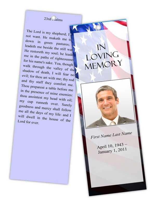 Memorial Card Template Free Download Patriotic Us Bookmark Template Elegant Memorials