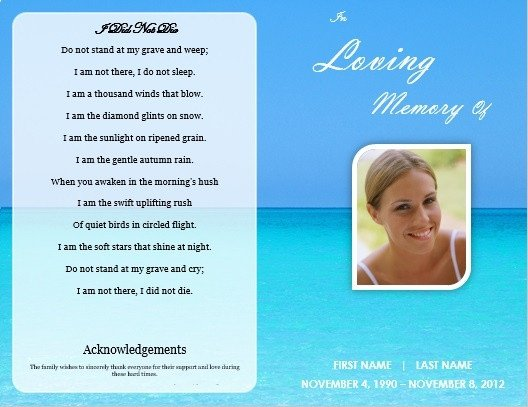 Memorial Card Template Free Download Single Fold Beach Funeral Program Template for