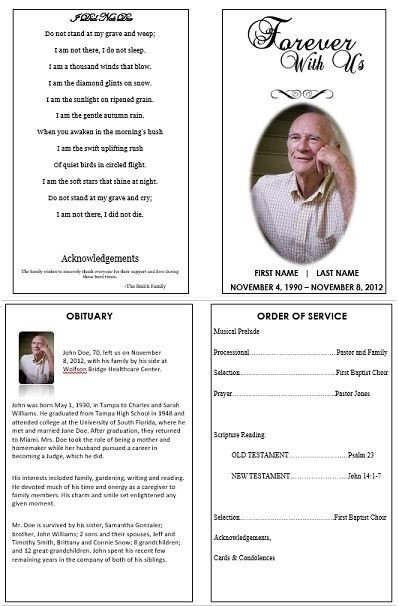 Memorial Services Program Template 1000 Images About Printable Funeral Program Templates On
