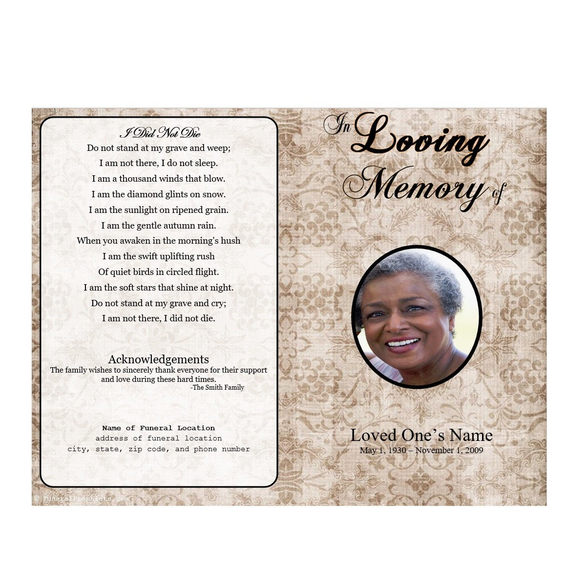 Memorial Services Program Template Floral Designs Single Fold Memorial Program