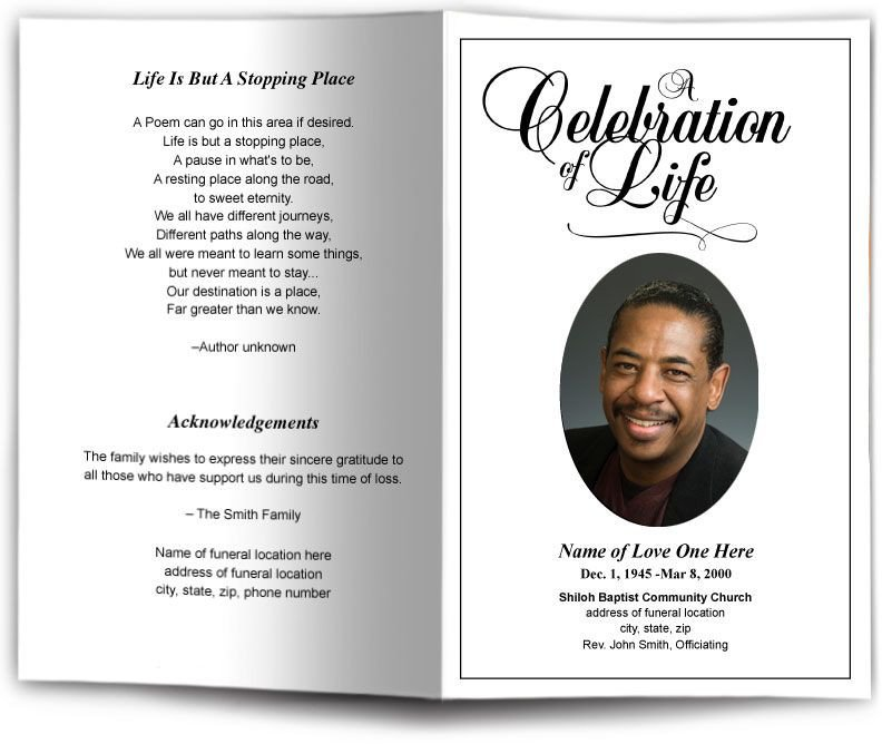 Memorial Services Program Template Funeral Program Obituary Templates