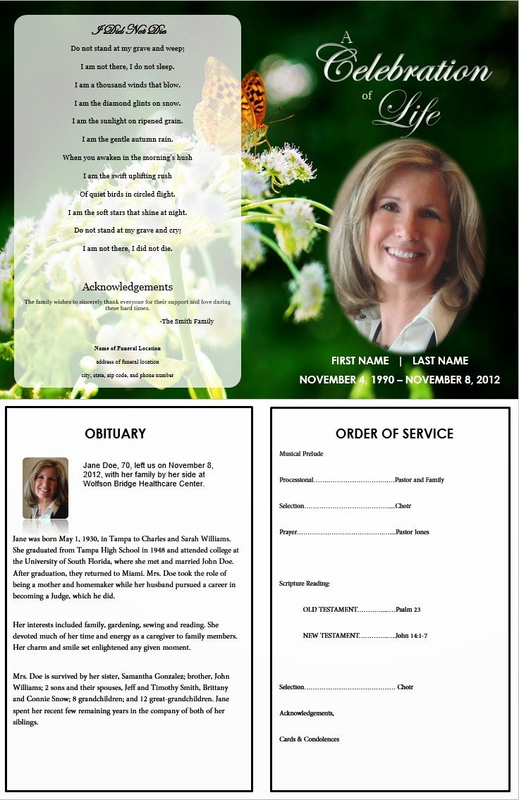 Memorial Services Program Template the Funeral Memorial Program Blog Free Funeral Program