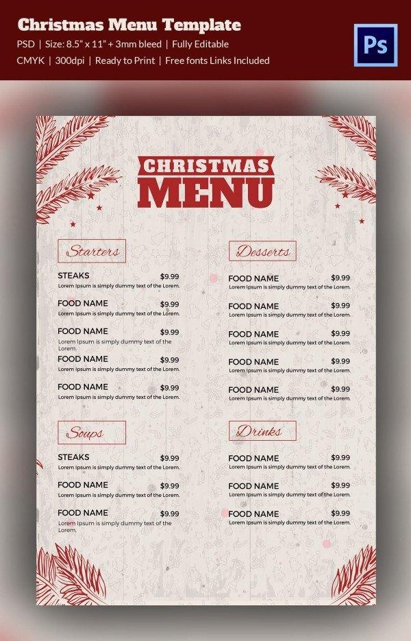 Menu Template Free Download 35 Christmas Menu Template Free Sample Example format