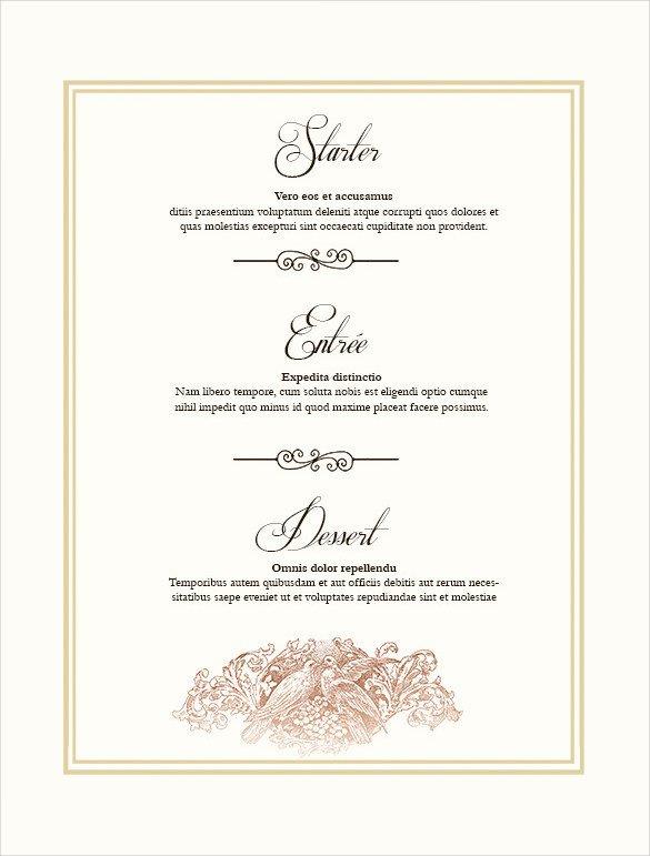 Menu Template Free Download 36 Wedding Menu Templates Ai Psd Google Docs Apple
