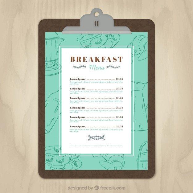 Menu Template Free Download Breakfast Menu Template Vector