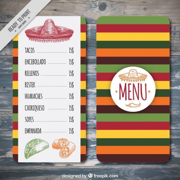 Menu Template Free Download Colorful Mexican Menu Template Vector