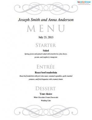 Menu Template Free Download Free Printable Wedding Menu Templates