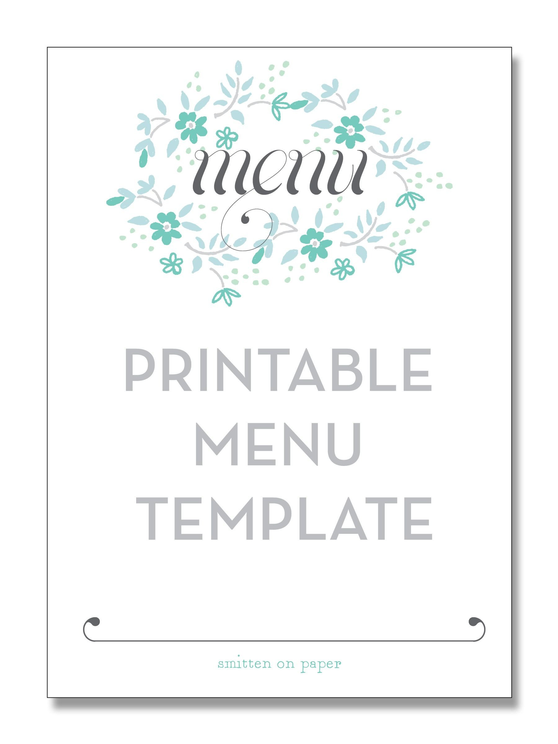 Menu Template Free Download Freebie Friday Printable Menu Party Time