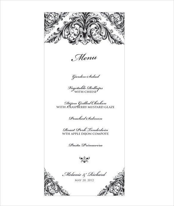 Menu Template Free Download Wedding Menu Template 31 Download In Pdf Psd Word