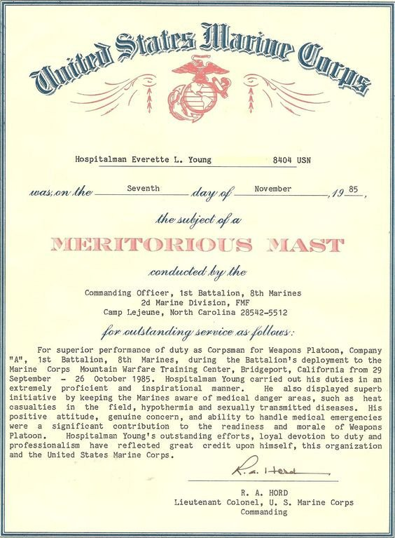 Meritorious Mast Example My Meritorious Captains Mast the U S Navy