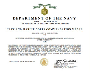 Meritorious Mast Example Summary Action Examples for Navy Mendation Medal