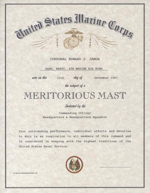 USMC Meritorious Mast certificate