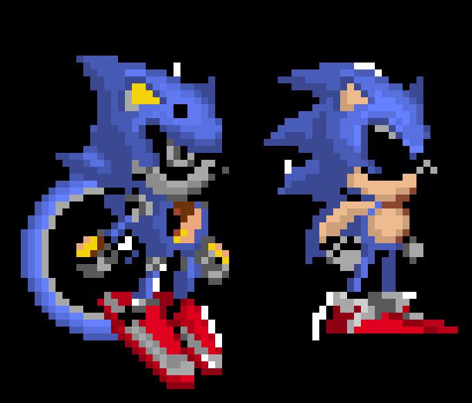 Metal sonic Pixel Art Metal Metal sonic and sonic