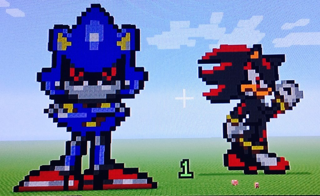 Metal sonic Pixel Art Pixel Art Metal sonic and Shadow by theredhunter11 On