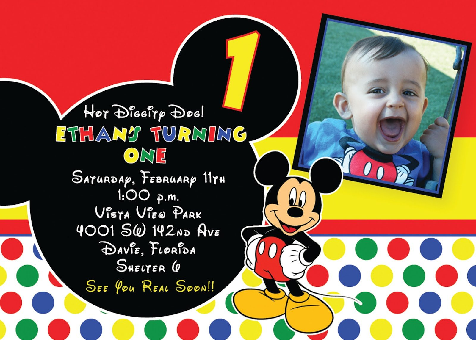Mickey Mouse Birthday Invitations Template 1st Mickey Mouse Birthday Invitations Free Invitation