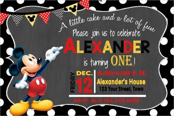 Mickey Mouse Birthday Invitations Template 31 Mickey Mouse Invitation Templates Free Sample