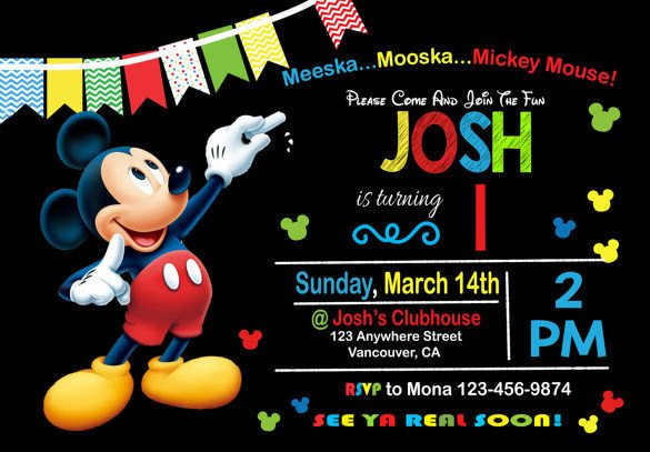 Mickey Mouse Birthday Invitations Template 49 Birthday Invitation Templates Psd Ai Word