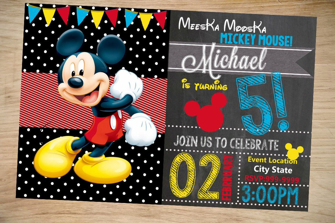 Mickey Mouse Birthday Invitations Template Mickey Mouse Birthday Invitation Birthday Invitation